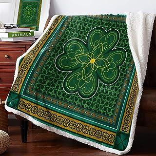 T&H XHome Sherpa Fleece Throw Blanket Cozy Soft Warm Bed Blankets,St. Patrick's Day Traditional Shamrock Irish Fuzzy Plush...