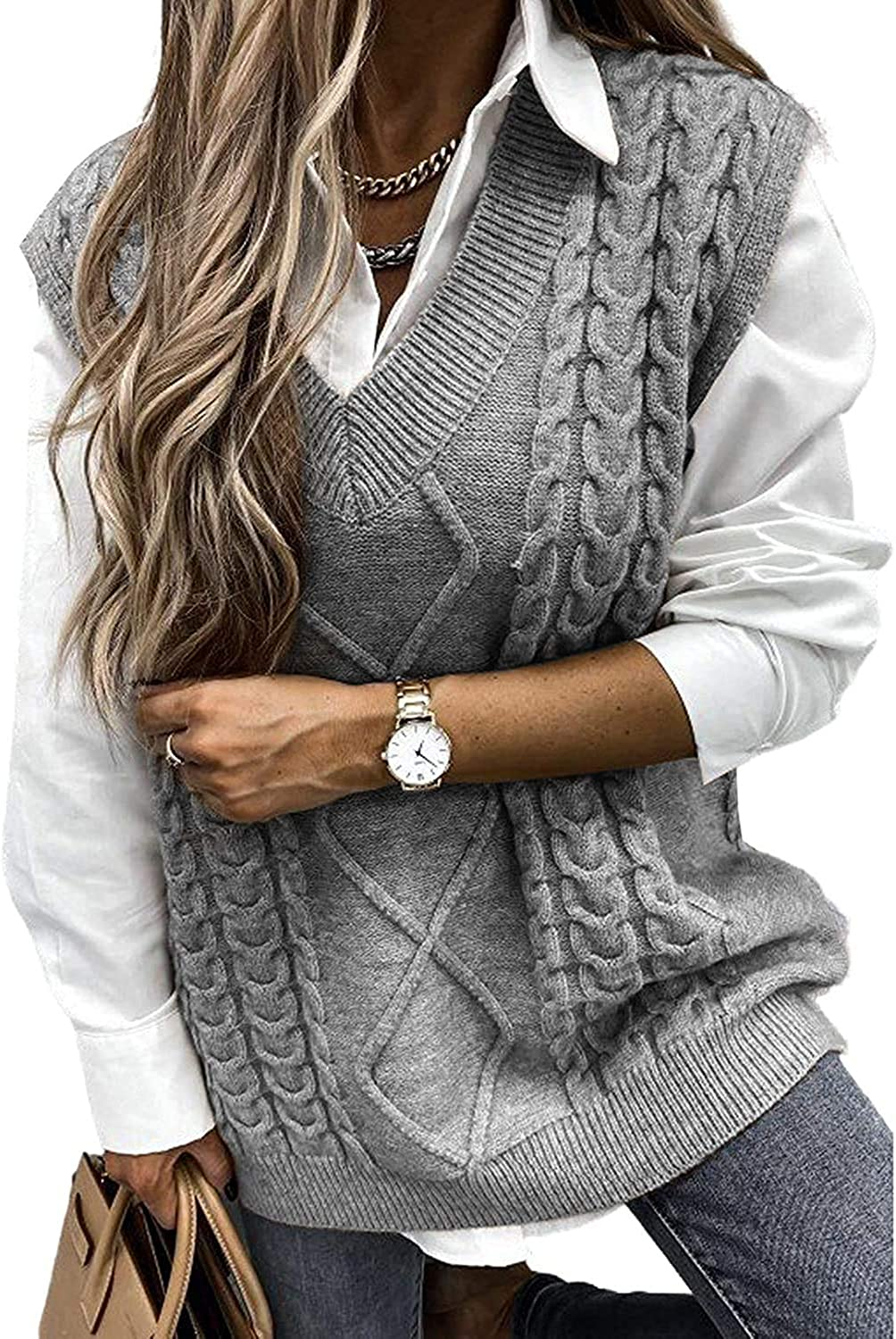 Yousify Women Cable Knit Oversize Sweater Vest V Neck Sleeveless Vintage Loose Sweaters Tops
