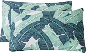 SUSYBAO 100% Cotton Pillowcases King Size Set of 2 Green Tropical Leaves Print Bed Pillow Covers Envelope Closure End Pillow Protectors Luxury Quality Soft Durable Comfortable(2 Pack, 20 x 36 inch)