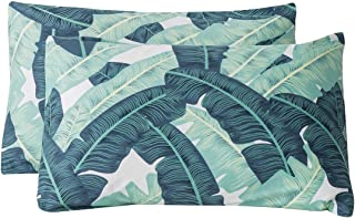 SUSYBAO 100% Cotton Pillowcases Queen Size Set of 2 Green Banana Leaves Pattern Bed Pillow Covers Envelope Closure End Pillow Encasement Soft Breathable Lightweight Durable(2 Pack, 20 x 26 inch)