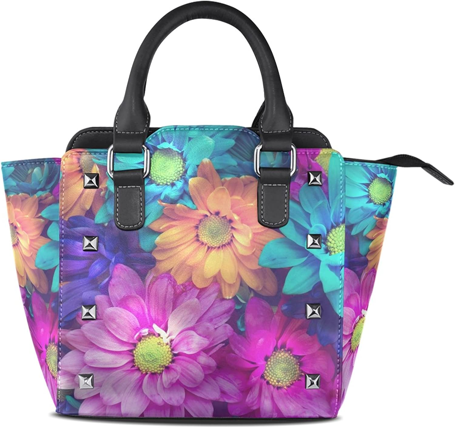 Sunlome colorful Daisy Flowers Print Women's Leather Tote Shoulder Bags Handbags
