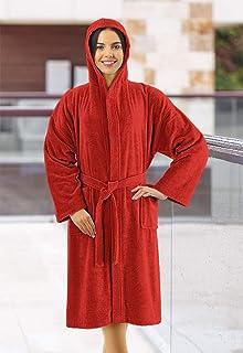 Banzaii Albornoz 100% Algodón con Capucha - Albornoz para Hombre y Mujer - Talla XL Rojo
