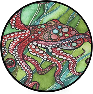 Octopus Area Rug Round Non-Slip Carpet Living Room Bedroom Bath Floor Mat Home Decor (3 Feet Round)
