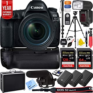 Canon 1483C002 EOS 5D Mark IV 30.4 MP Full Frame CMOS DSLR Camera Bundle with 128GB and 64GB Memory Cards, 3X Battery, LED Light, Microphone, 1 Year Extended Warranty and Accessories (15 Items)