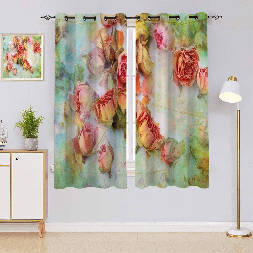 Floral Custom Print Curtains Dry Gorgeous Roses Beautiful Pattern Super special price with V