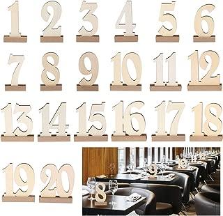 ROSENICE 20pcs 1-20 Wooden Wedding Table Number Holders