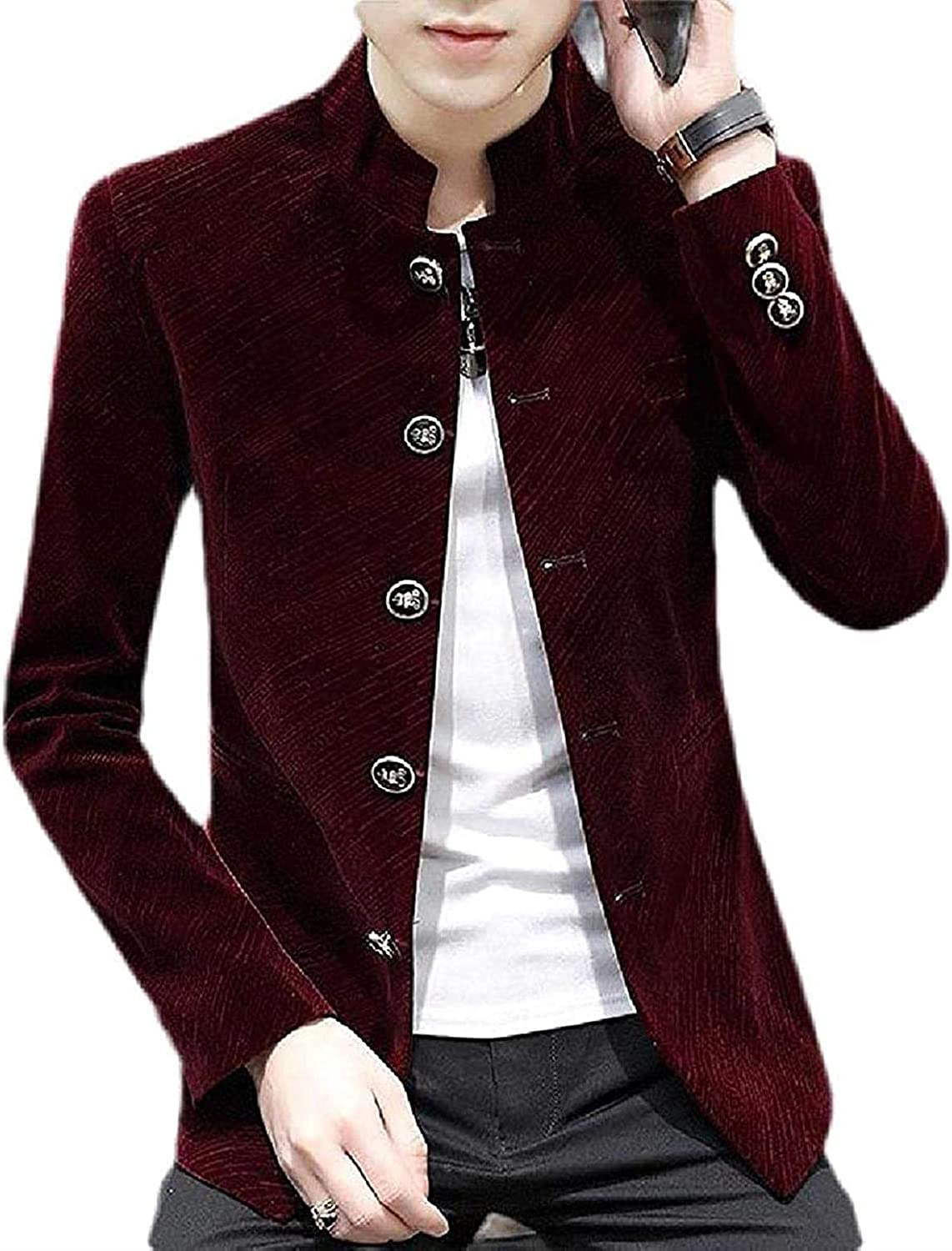 Mens Business Slim online shopping Fit Stand Collar Single Blazer Suit Outlet ☆ Free Shipping Breasted