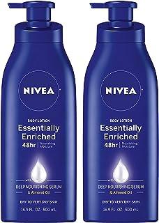 NIVEA لوسیون بدن غنی سازی شده - 48 ساعت رطوبت برای پوستهای خشک تا خیلی خشک - بطری پمپ 16.9 فاز Oz Oz (بسته 2)