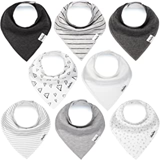 Baby Bandana Drool Bibs for Boys and Girls, Unisex 8 Pack Bib Set with Snaps for Drooling, Teething and Feeding, Soft and ...
