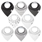 Baby Bandana Drool Bibs for Boys and Girls, Unisex 8 Pack Bib Set with Snaps for Drooling, Teething and Feeding, Soft and Absorbent, Baby Shower Gift for Newborn by KiddyStar.