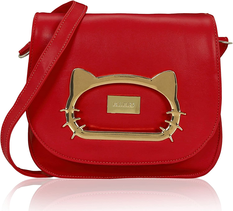 Kleio Solid color Stylish Designer Crossbody Medium Size Faux Leather Shoulder Purse Bag For Women Girls (Red)