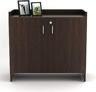 Bluewud Brooklayn Engineered Wood Shoe Rack Cabinet Stand (2 Doors, 16 Pairs, Wenge)