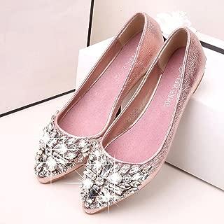 Hemlock Women Flat Shoes Pointed Toe Boat Shoes Female Rhinestone Shoes Slip-Ons Shoes