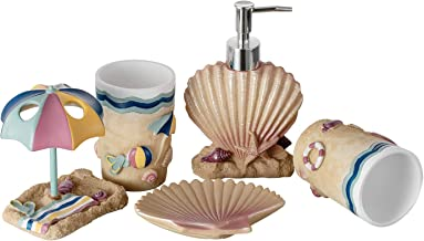 JYXR 5 Piece Bathroom Accessories Set, 3D Beach Style Bath Ensemble, Resin Bath Set Collection Features Liquid Soap Dispen...