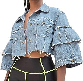 Women's Denim Jacket Ruffle Half Sleeve Cropped Jean Jackets (Medium, Light Blue)