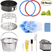 18-Piece Pressure Cooker Accessories Set for Instant Pot 6 Qt, Steamer Basket, Nonstick Springform Pan, Egg Steam Rack, Egg Bites Mold, Mini Mitt, Sealing Rings, Magnetic Cheat Sheets, Cleaning Set