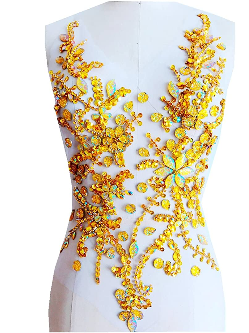 Pure Hand Made Crystals Patches Gold Sew on Rhinestone Applique Knit Trim 50 x 30 cm Dress Accessory