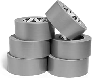 Heavy Duty Silver Duct Tape - 6 Roll Multi Pack Industrial Lot – 30 Yards x 2 inch Wide – Large Bulk Value Pack of Grey Original Extra Strength - No Residue, All Weather. Tear by Hand