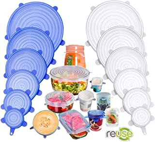 Silicone Stretch Lids, Insta Lids, Instalids, Reusable Silicone Lids with Hanging Holes Fit Round & Square Bowls, Jars, Va...