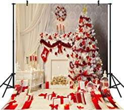Duluda 10X10FT Seamless Christmas Tree Gifts Vinyl Photography Backdrop Customized Photo Background Studio Prop White Red WXL20D