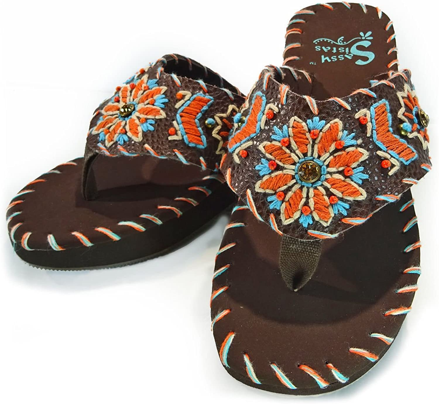 Montana West Sassy Sista- Leather Uppers, Embroidered Wedge Sandals- Coffee