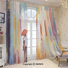 Sheer Curtains 84 inches Long Silhouette of a Love Couple in Street Rainy Day Romance in Urban City Life Sheer Window Treatment Voile Drape Panels with Grommet Top(2-Pack,52 Wx 84 inch L),Multi