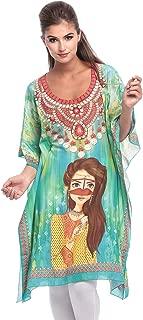 Arabian Clothing Green Mixed Round Neck Kaftan & Kimono For Women