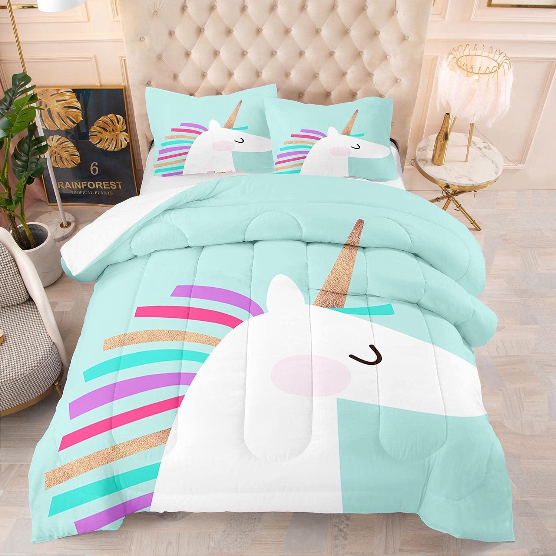 JOLEYCOR OFFicial site Cute Girls Unicorn Department store Bedding Size Cartoon Set Quilt King