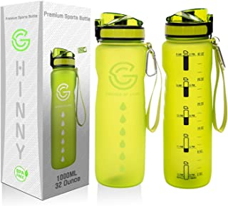 GHINNY Water Bottle With Time Marker - 32oz Motivational Sports Waterbottle with Hourly Time Marker & Carabiner 1 Liter BP...