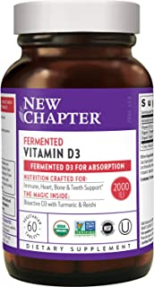 New Chapter Vitamin D3, Fermented Vitamin D3 2, 000 Iu, One Daily with Whole-Food Herbs + Adaptogenic Reishi Mushroom for ...