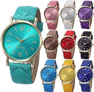 Yunanwa 10 Pack Women Men Unisex Platinum Watches Roman Leather Band Analog Quartz Wrist Watch