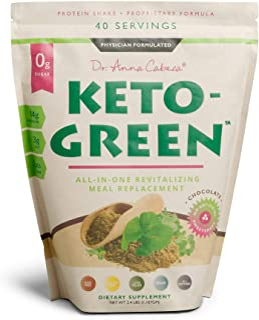Keto Green Alkaline Protein Shake - Chocolate Ketogenic Protein Powder Drink, Lactose Free Vegan Protein, Supports Gastroi...
