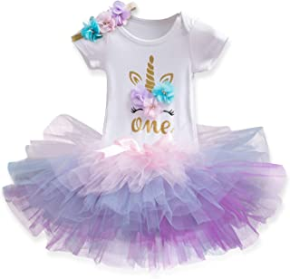Newborn Girls It's My 1st/2nd Birthday 4 Pcs Outfits with Romper&Skirt&Headband&Leggings