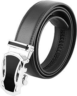 أحزمة moonsix الرسمية للرجال، حزام جلدي أصلي بسقاطة عمل إبزيم أوتوماتيكي