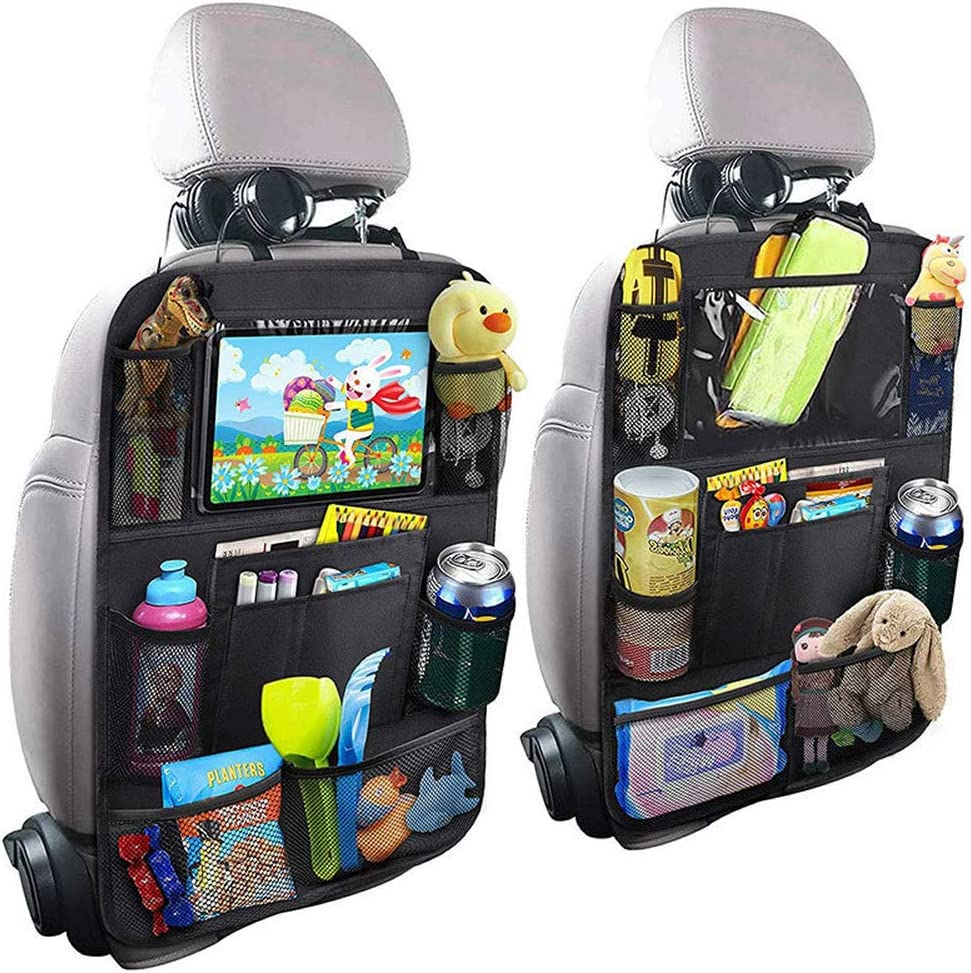 PINHEN Car Backseat Organizer, 9 Storage Pockets Car Back Seat Organizer for Kids and Toddlers Toy Bottle Vehicle Travel Accessories (2Pack)