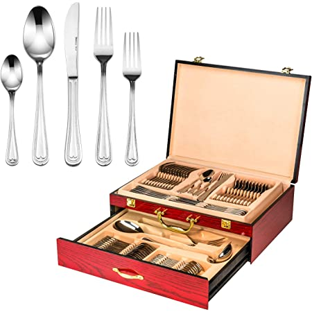 """Venezia Collection """"Silver Beads"""" 65-Piece Fine Flatware Set, Silverware Cutlery Dining Service for 12, Premium 18/10 Surgical Stainless Steel, Hostess Serving Set with Wooden Storage Case"""
