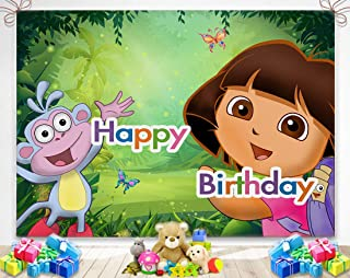 TJ Cartoon Girls Explorer Theme Photography Background Green Jungle Adventure Girls Happy Birthday Party Photo Backdrops Baby Shower Decoration Studio Booth Props Banner 7x5FT Vinyl