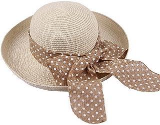 COMVIP Boho Chiffon Flower Wide Brim Beach Sun Straw Hat