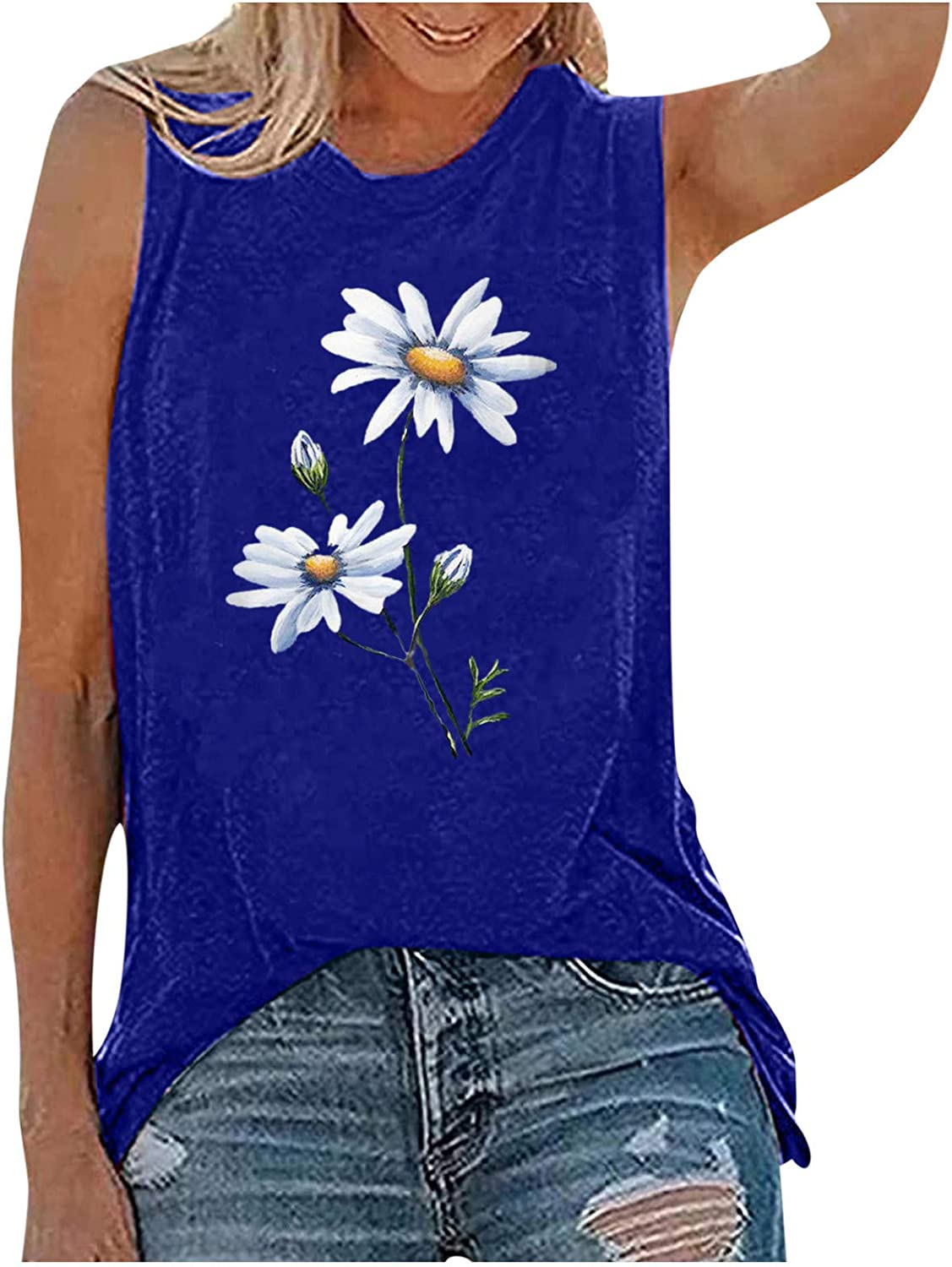Gerichy Tank Tops for Women, Womens Casual Summer Sleeveless Loose Fit Plus Size Blouses Tees Tank Shirts Tunics Vest