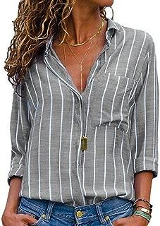 MU2M Women's V-neck Stripe Long Sleeve Loose Button Down Shirt Tops
