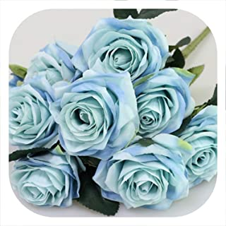 Memoirs- Artificial Silk 1 Bunch French Rose Floral Bouquet Fake Flower Arrange Table Daisy Wedding Flowers Decor Party Accessory Flores,Blue