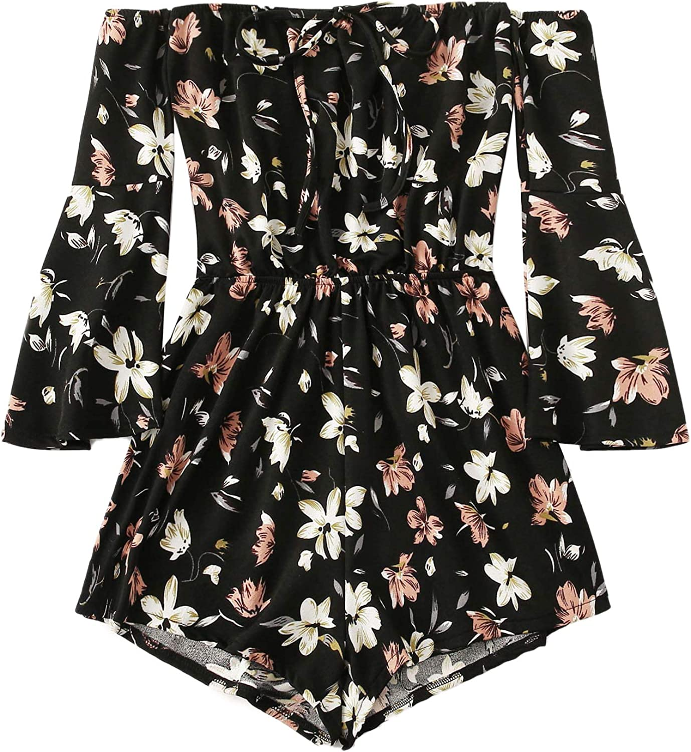 MakeMeChic Women's Casual Floral Print One Piece Knot Front Off Shoulder Romper Playsuit