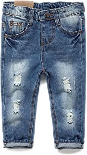 Baby & Toddler Elastic Waist Ripped Holes Soft Jeans