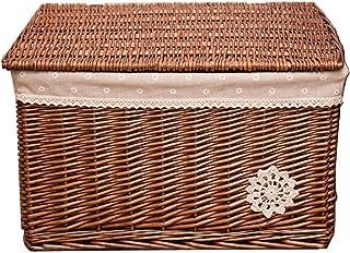 DIY cabinet Boîte de Rangement avec Couvercle, Grand Panier de Rangement en Osier de Stockage de rotin boîte 52 * 41 * 31c...