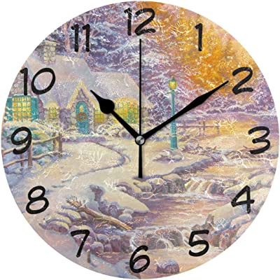 Nifdhkw Field of Flowers Wall Clock Silent Non Ticking Acrylic ...