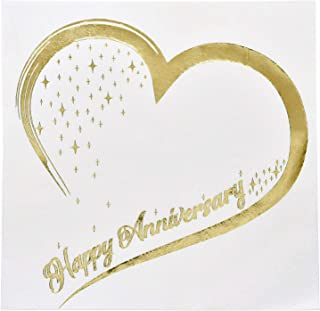 Gift Boutique 100 Count 3 Ply Happy Anniversary Napkins Wedding Party Favor Supplies Decorations White & Metallic Gold Foil Luncheon Napkin Heart Designs