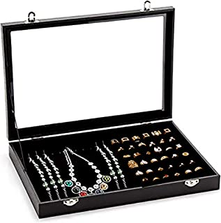 Jewelry Storage Display Box with Transparent Lid ~ Earring Ring and Necklace Holder Showcase ~ Jewelry Tray Organizer (Black Multi Function)