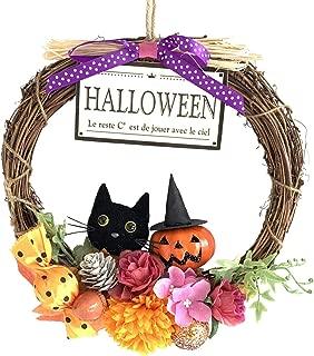 ハロウィン 飾り デコ リース HALLOWEEN 壁掛け デコレーション 約21.5cm (パンプキン&黒猫)