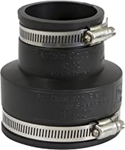 EVERCONNECT 4833 Flexible Pvc Reducing Rubber Coupling with Stainless Steel Clamps, 3 x 2 Inch, Black