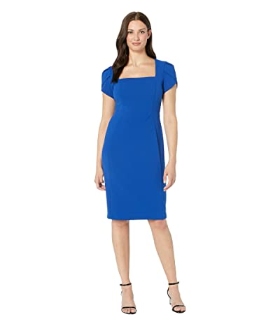 Donna Morgan Tulip Cap Sleeve Square Neck Sheath Crepe Dress (Blue Sapphire) Women
